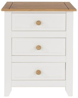 Capri Bedside Cabinet - Pine and White Painted