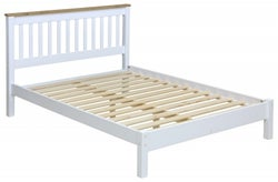 Capri 4ft 6in Double Slatted Low End Bedstead - Pine and White Painted