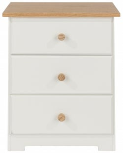 Colorado Bedside Cabinet - White Painted and Oak Effect