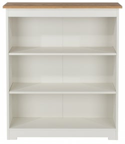 Colorado Low Wide Bookcase - White Painted and Oak Effect