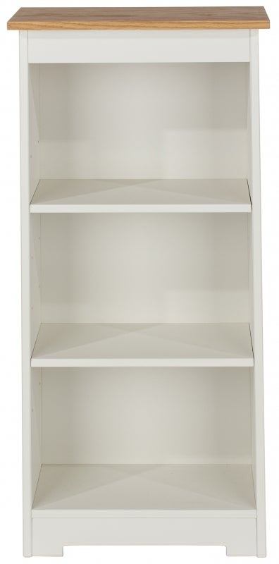 Colorado Low Narrow Bookcase - White Painted and Oak Effect