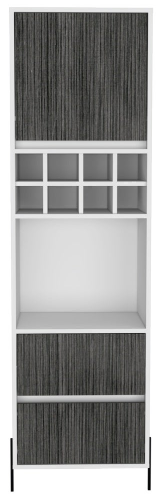 Dallas White and Grey Oak 1 Door 2 Drawer Tall Bar Cabinet
