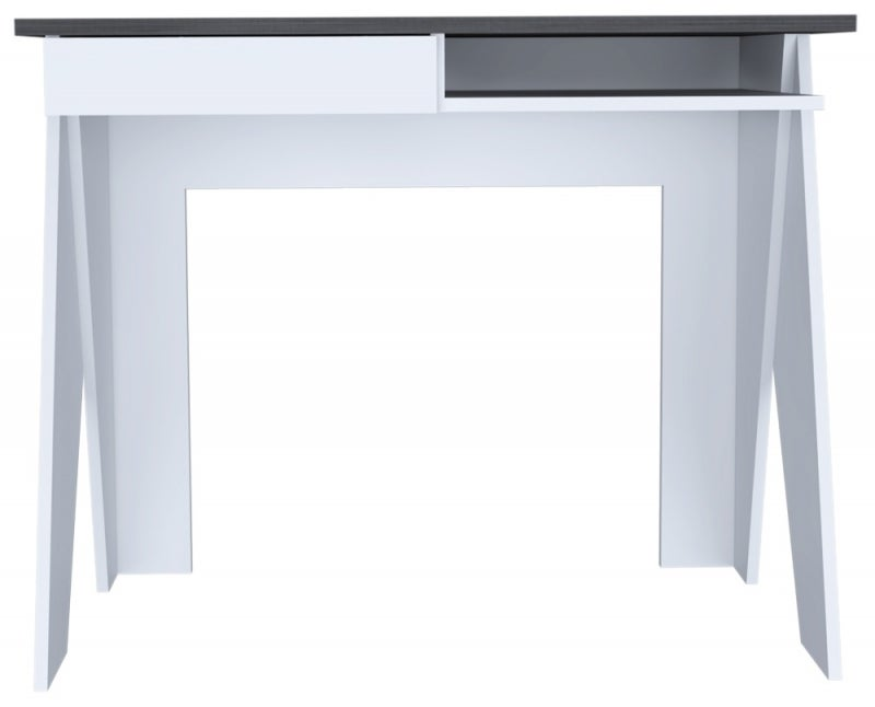 Dallas Office Desk with Drawer - White and Grey Oak Effect