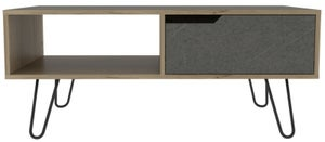 Manhattan Coffee Table with Hairpin Legs - Pine and Stone Effect
