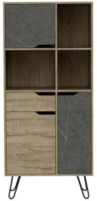 Manhattan Book Cabinet with Hairpin Legs - Pine and Stone Effect
