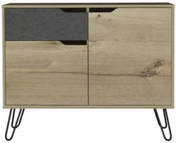 Manhattan Small Sideboard with Hairpin Legs - Pine and Stone Effect