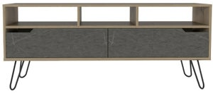 Manhattan Wide TV Unit with Hairpin Legs - Pine and Stone Effect