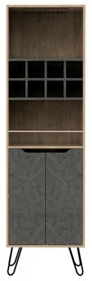 Manhattan Tall Bar Cabinet with Hairpin Legs - Pine and Stone Effect