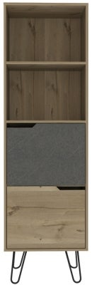 Manhattan Tall Bookcase with Hairpin Legs - Pine and Stone Effect