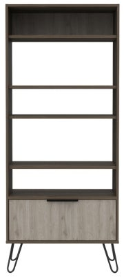 Nevada Bookcase with Hairpin Legs - Grey Oak Effect