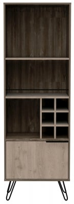 Nevada Tall Drinks Cabinet with Hairpin Legs - Grey Oak Effect