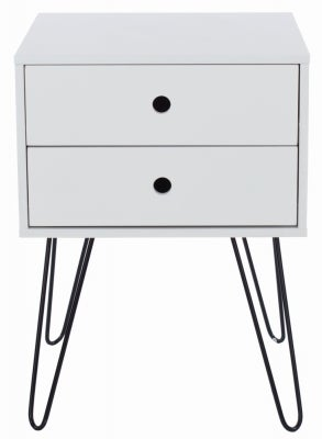 Telford White Painted Bedside Cabinet with Hairpin Legs