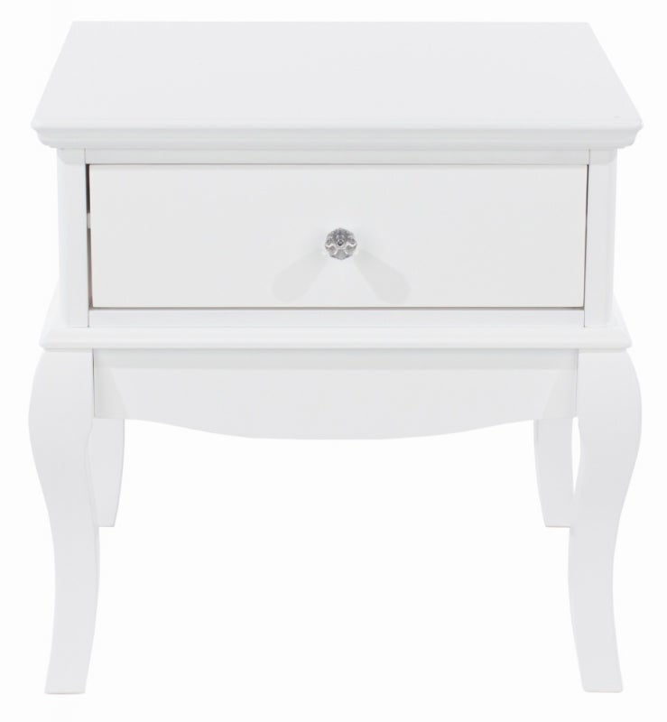 Lyon White Painted 1 Drawer Bedside Cabinet