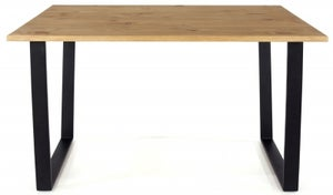 Texas 118cm Industrial Dining Table with Black Metal Legs