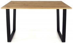 Texas 150cm Industrial Dining Table with Black Metal Legs