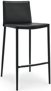 Connubia Boheme Metal and Regenerated Leather Bar Stool with Footrest