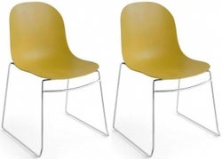 Connubia Academy Metal and Plastic Stackable Dining Chair with Sled Base (Pair)