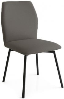 Connubia Hexa Vintage Leather Swivel Dining Chair with Metal Legs
