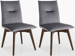 Connubia Maya Upholstered Swivel Dining Chair with Wooden Legs (Pair)