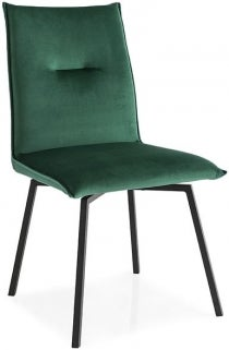Connubia Maya Upholstered Vintage Leather Swivel Dining Chair with Metal Legs