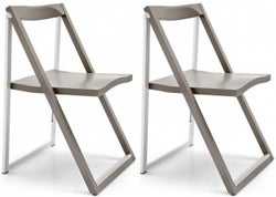 Connubia Skip Wood and Aluminium Folding Dining Chair with Flat Hook (Pair)