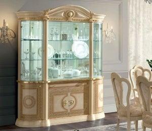 Camel Aida Day Ivory Italian 4 Door China Cabinet with LED Light