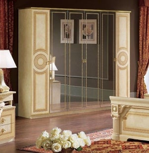 Camel Aida Ivory Italian 6 Door Wardrobe
