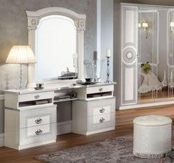 Camel Aida White and Silver Italian Vanity Dresser