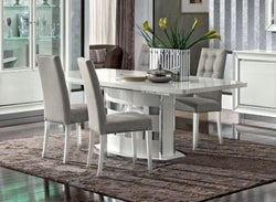 Camel Dama Bianca Day White Italian Extending Dining Table with Extension