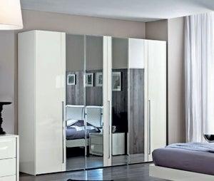 Camel Dama Bianca Night White Italian 6 Door Mirror Wardrobe