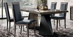 Camel Elite Day Silver Birch Italian Net Extending Dining Table and Rombi Blue Velvet Dining Chairs