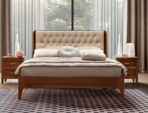 Camel Giotto Night Walnut Italian Bed with Storage