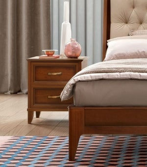 Camel Giotto Night Walnut Italian Bedside Cabinet