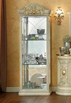 Camel Leonardo Day Ivory High Gloss and Gold Italian 1 Glass Door China Cabinet with LED