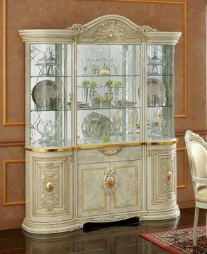 Camel Leonardo Day Ivory High Gloss and Gold Italian 4 Glass Door China Cabinet with LED