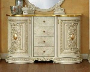 Camel Leonardo Day Ivory High Gloss and Gold Italian Buffet Sideboard