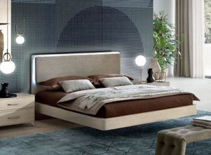 Camel Maia Night Sand Birch Italian Bed with Smoke Headboard