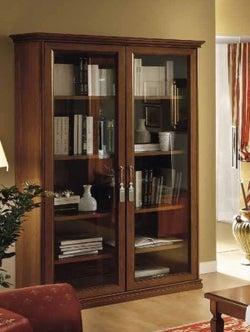 Camel Nostalgia Day Walnut Italian 2 Glass Door Bookcase