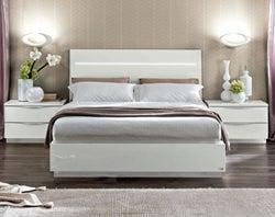 Camel Onda Night White Italian Legno Bed with Luna Storage