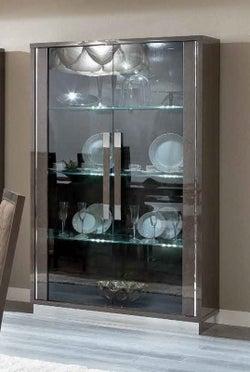 Camel Platinum Day Silver Birch Slim Italian Large Glass Cabinet