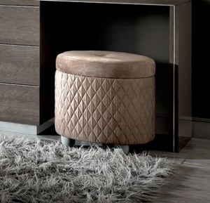 Camel Platinum Night Italian Rombi Round Pouff with Button in Ecoleather Nabuk 12 Taupe