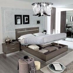 Camel Platinum Night Italian Legno Bed with Luna Storage