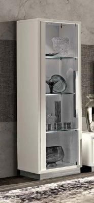 Camel Roma Day White Slim Italian 1 Left Door Glass Cabinet