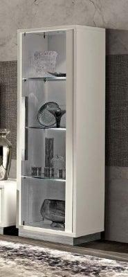 Camel Roma Day White Slim Italian 1 Right Door Glass Cabinet
