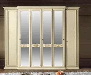 Camel Siena Night Ivory Italian 6 Door Wardrobe with 4 Mirror