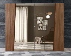 Camel Storm Night Wooden Italian 6 Door Wardrobe with Mirror