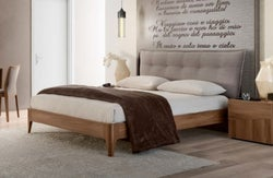 Camel Storm Night Wooden Italian Soft Bed with Luna Storage