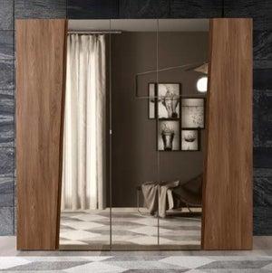 Camel Storm Night Wooden Italian 5 Door Wardrobe with Mirror