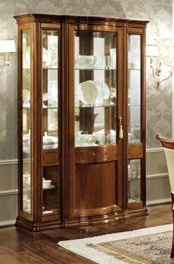 Camel Torriani Day Walnut Italian 3 Glass Door Vitrine with LED Light - 130cm
