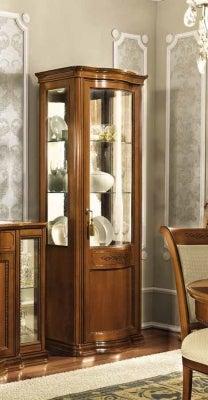 Camel Torriani Day Walnut Italian 1 Right Curved Glass Door Vitrine with LED Light